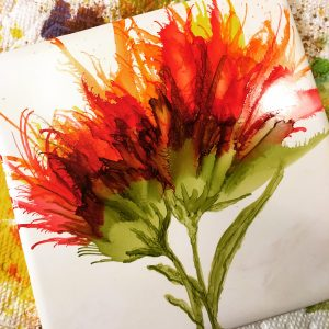 Blowing Alcohol Ink - Floral