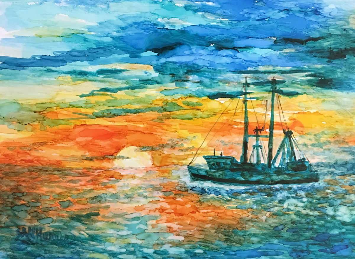 Fishing Boat - Alcohol Ink Art Lesson