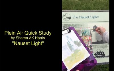 The Nauset Lights – Plein Air Alcohol Ink Painting