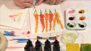 How to paint with Alcohol Ink - Cotton Swab Flowers