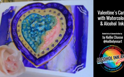 Valentine's Card with Watercolor & Alcohol Ink
