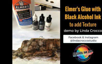 Elmer's Glue with Black Alcohol Ink