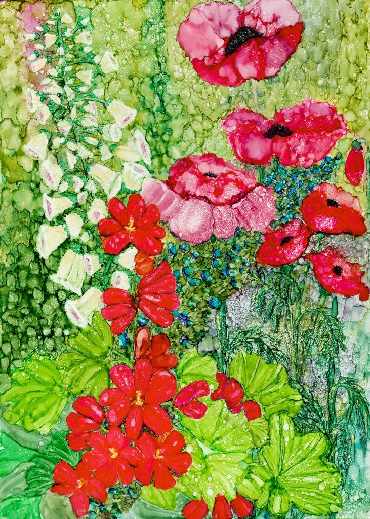 Poppies in the Garden by Korinne Carpino