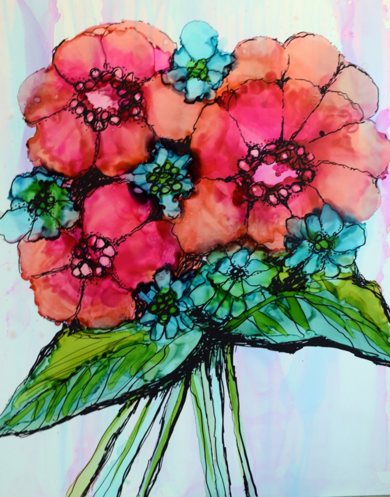 Alcohol Ink Floral by Beth Kluth