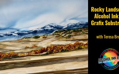 Rocky Landscape – Alcohol Ink on Grafix DuraBright White